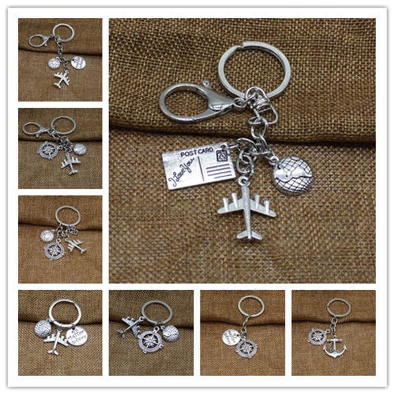 Glamour Keychain Airplane Passport Pendant Keychain With Earth Travel Friendship Jewelry Gift Keychain