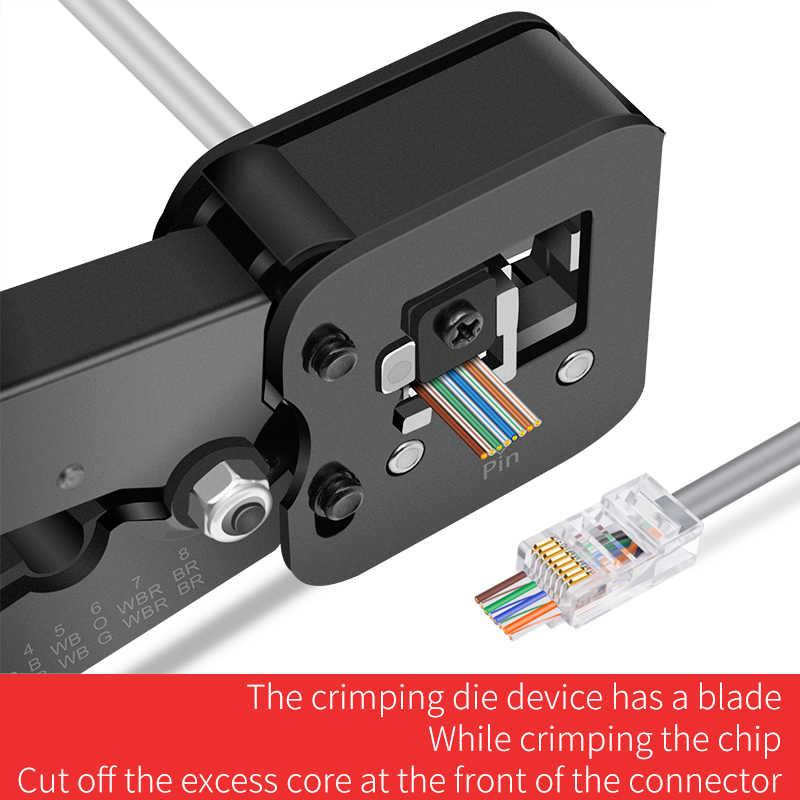 ONTi EZ RJ45 narzędzie Crimper ręcznie sieci narzędzie do usuwania izolacji szczypce dla EZ RJ45 RJ11 Cat6 Cat5 8p8c wielu narzędzie do zaciskania kabli striptizerka