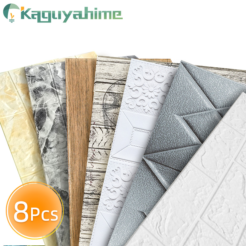 Kaguyahime 8Pcs 3D DIY Wall Stickers Self-Adhesive Decor Wallpaper For Bedroom Kitchen Waterproof Sticker 3D Wallpaper Brick
