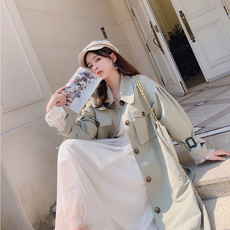 MISHOW 2019 Autumn Winter British Style Windbreaker Women Turndown Collar Single-breasted With Belt Long Coat MX19C7341
