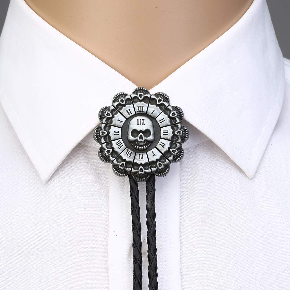 Skull Head Sunflower Bolo Tie For Man Indian Cowboy Western Cowgirl Leather Rope Zinc Alloy Necktie