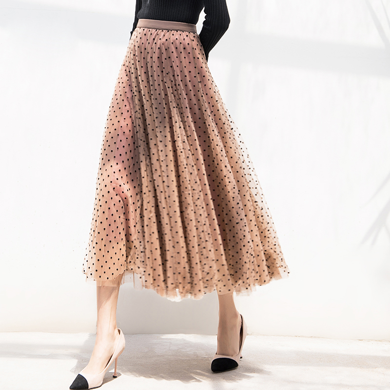 Tulle Skirts Women 2019 Spring Polka Dot Skirt Female High Waist Pleated Midi Long Tutu Skirt Mesh Female Pink Blue Black