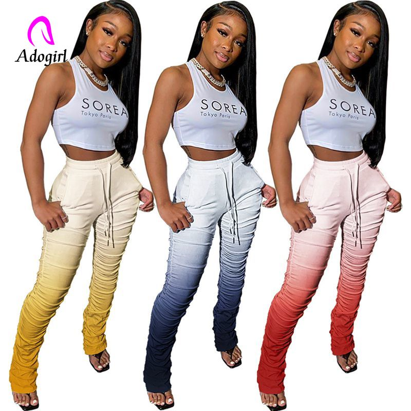 Stacked Sweatpants Women Sexy Gradient Joggers Elastic Summer Leggings Bell Bottom Trouser High Waist Flare Ruched Casual Pant
