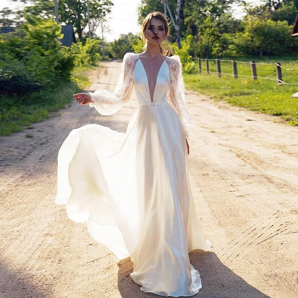 2020 летнее женское сексуальное платье с глубоким v образным вырезом, с открытой спиной, с пышными рукавами, женское платье, повседневное элегантное белое платье макси Vestidos #35|Платья|   | АлиЭкспресс