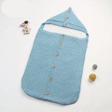 Мягкое теплое Пеленальное Одеяло для новорожденных, шерстяное вязаное одеяло для малышей, Пеленальный спальный мешок для малышей, сумка для коляски, для 0-12 месяцев