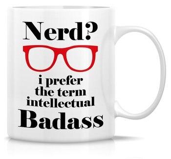 Taza divertida para el empollón que prefiera el término intelectual Badass 11 Oz taza de café de cerámica