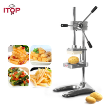 ITOP Potato Chip Slicers Stainless Steel Vertical French Fries Cutter Machine Food Processor With 3 Pcs Blades MH003