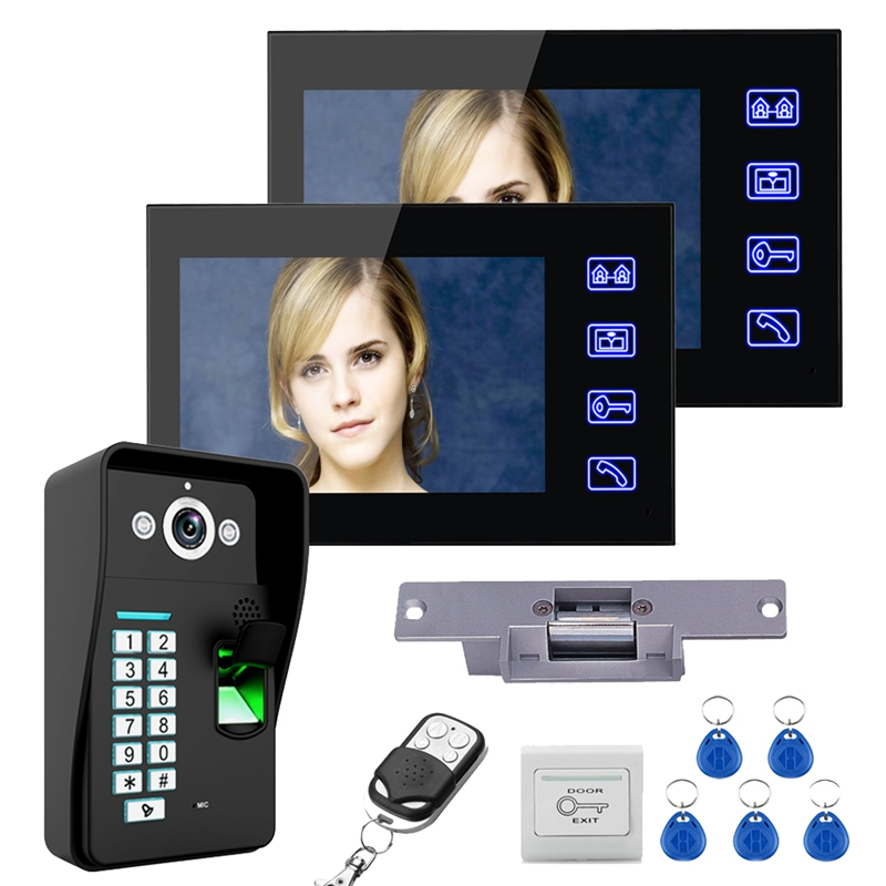 7 Inch TFT Two Monitors RFID Password Video Doorbell Intercom Doorbell With IR Camera 1000 TV Line Remote Access Control System
