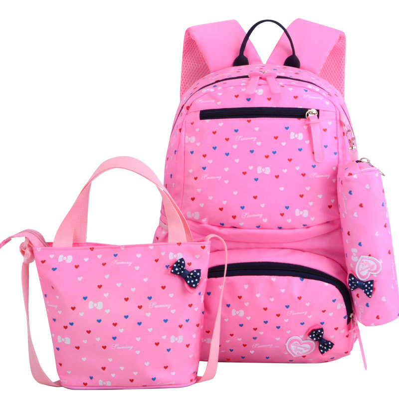 3pcs/set Fashion Dot Print Children Waterproof School Bags For Teenagers Girls Bow Kids Cute Backpacks Girl Book Bag Sac Mochila