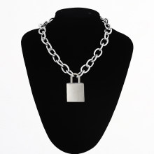 Large Lock necklace women/men thicker chain punk rock square padlock pendant necklace Vintage emo Accessory Goth jewelry(China)