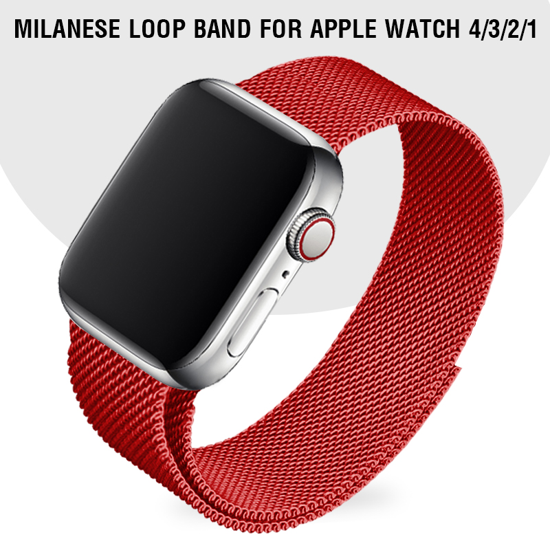 Red Watch Band 40 44mm For Iwatch Series 4 Milanese Loop Band Magnetic Metal Wrist Band 38 Replacement Strap For Apple Watch 3