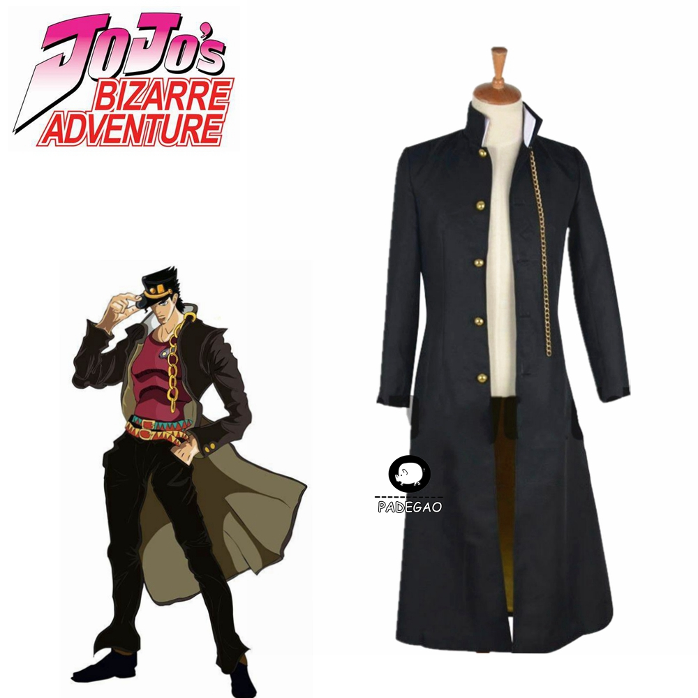 JoJo's Bizarre Adventure Jotaro Kujo Cosplay Costume Black Coat Jacket Halloween Party Outfits Custom Made