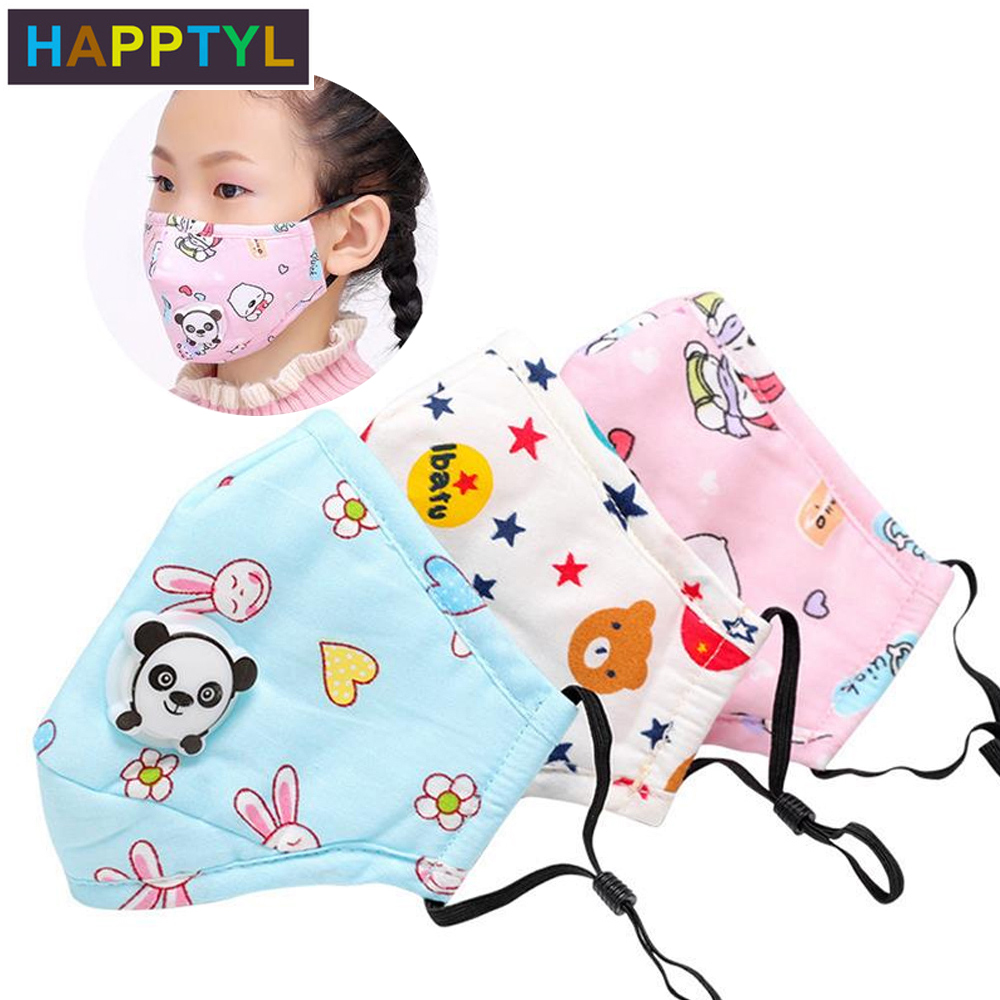 HAPPTYL PM2.5 Winter Children Mask Respiratory Valve Cartoon Panda Thicken Smog Mask Warm Dust Mask Fits 2-10 Years Old Kids