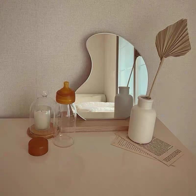 Korean style Makeup Mirror Ins Irregular Acrylic Decorative Mirror Wooden  Base Cosmetic de maquillaje Beauty Tools Dropshipping Decorative Mirrors  -  AliExpress