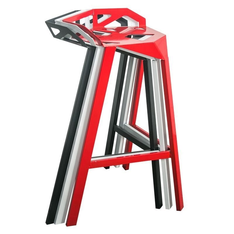 Modern Minimalist Casual Home High Stool Stylish Cafe Bar Table And Chairs Creative Geometric Design Wrought Iron Chair