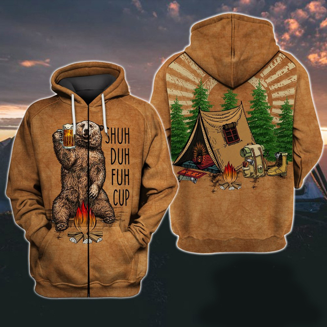 Shuh Duh Fuh Cup Bear Campfire Camping 3D All Over Printed Shirt Hoodie 2