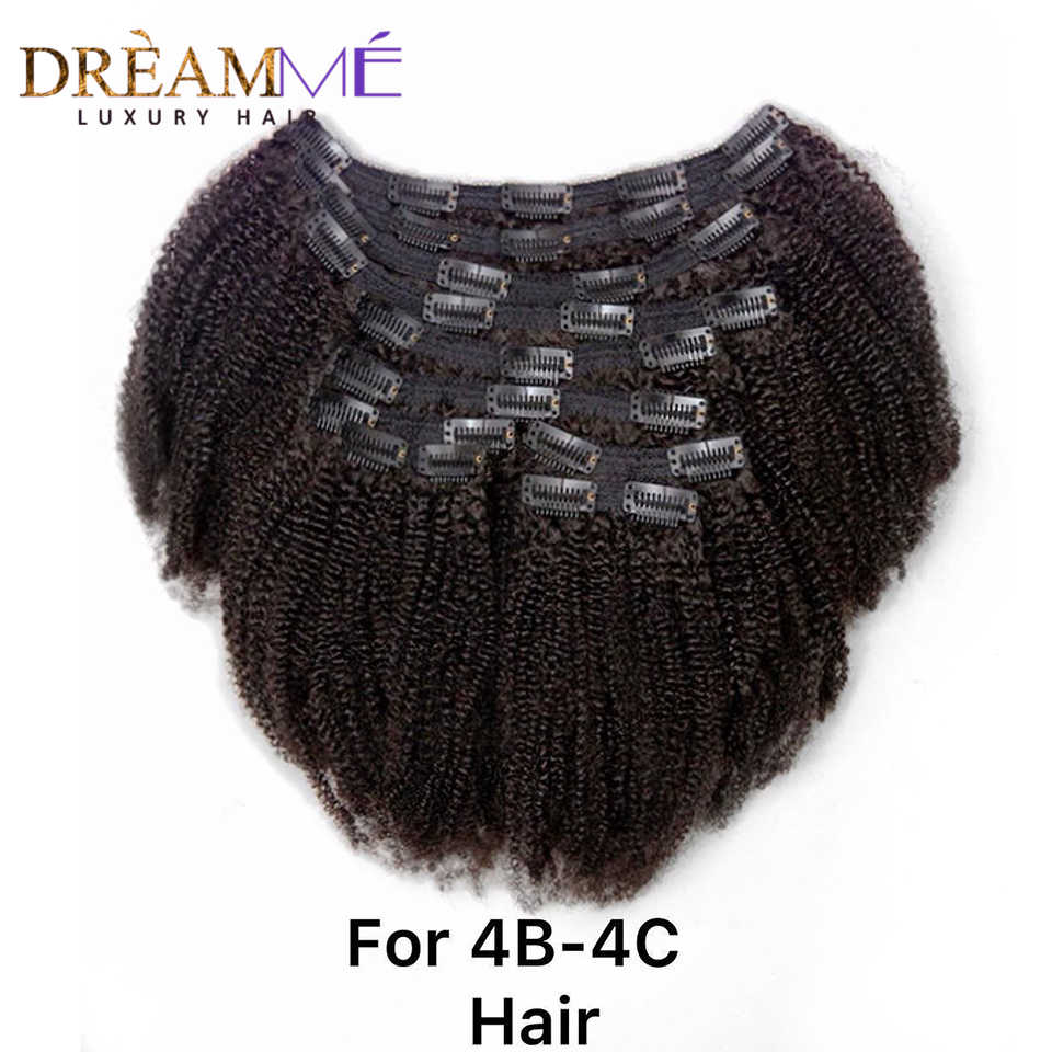 Braziliaanse Afro Kinky Krullend Clip Ins Human Hair Extensions 8 Stks/set Clips In Hair Extensions Natuurlijke Kleur 4B 4C Patroon dreamme