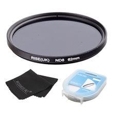 Rise (reino unido) 62mm densidade neutra filtro nd8 para todas as lentes da câmera + caso + presente