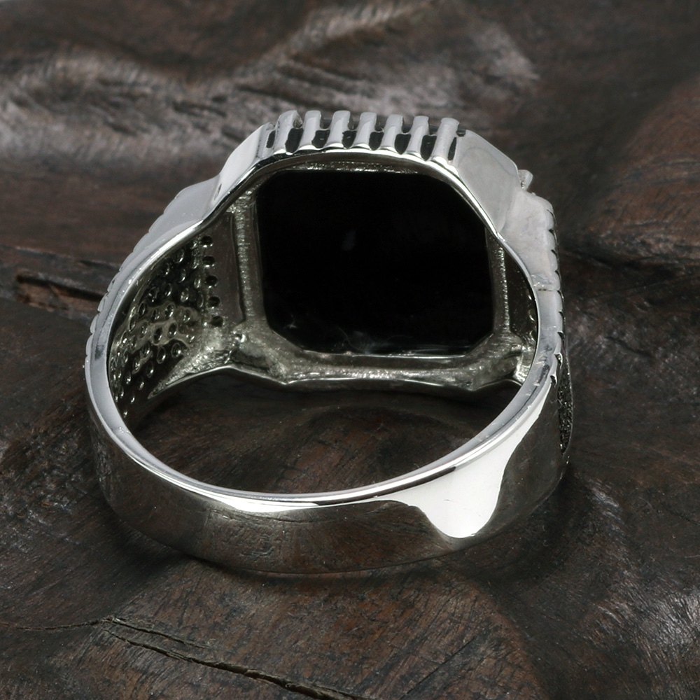 Image 3 - Genuine Solid 925 Sterling Silver Turkish Rings For Men Black Rings With Stone Square Natural Onyx Vintage Male Jewelry AnelliRings   -