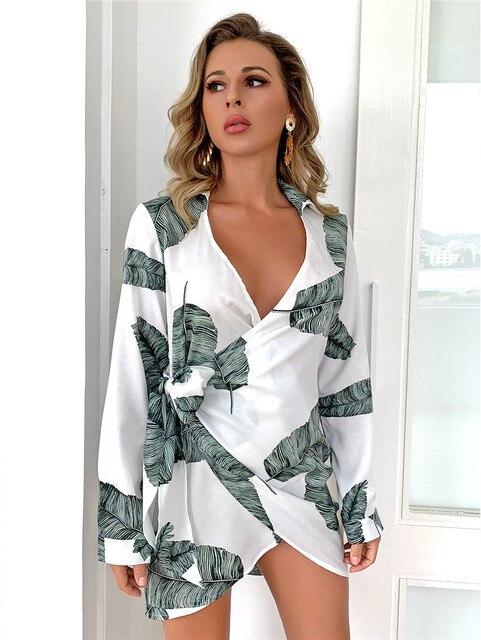 EvaQueen Leaf Print Elegant Dress V Neck High Waist Tie Bow Slim Mini Dresses Female Long Sleeves Summer Sexy Bodycon Vestidos 3