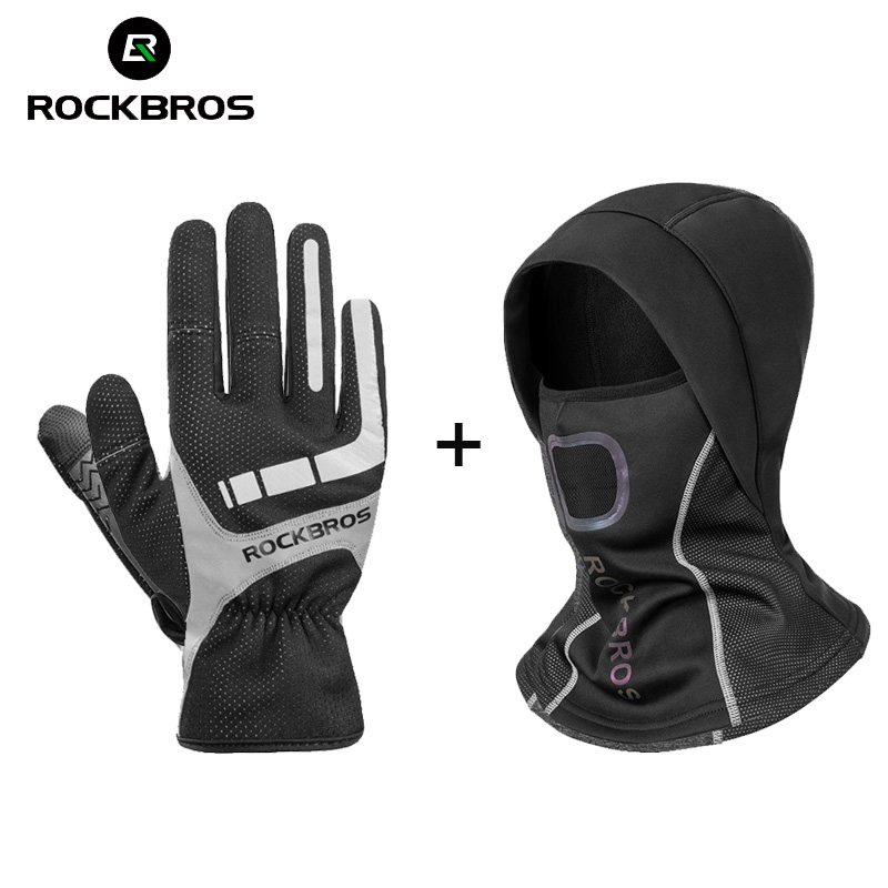 ROCKBROS Bicycle Cycling Gloves Touch Screen Thermal Bike Gloves Windproof Keep Warm Autumn Winter Men Women Thick Sport Gloves
