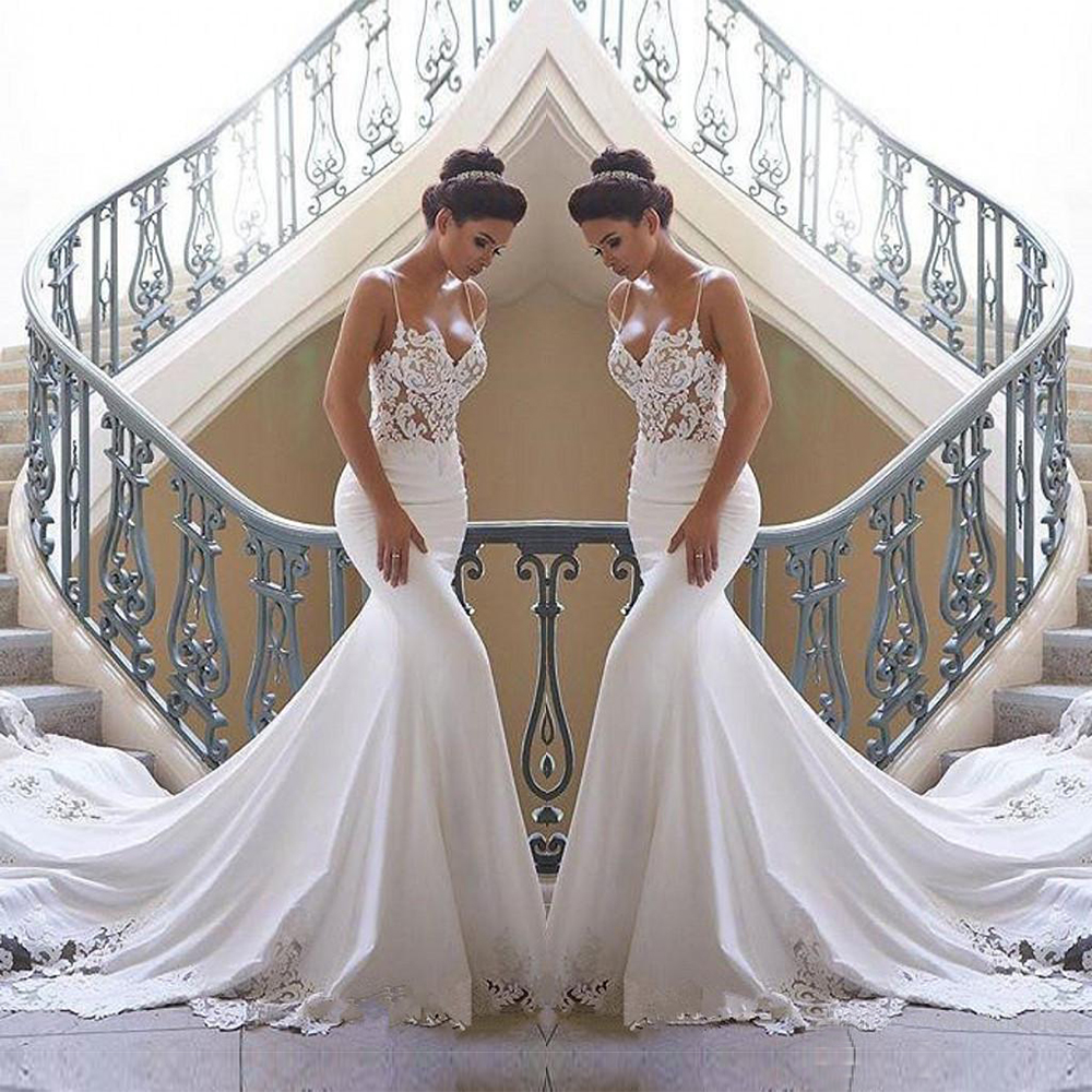 2020 Spaghetti Straps Mermaid Beach Wedding Dresses Satin Lace Applique Sweep Train Boho Bridal Gowns Custom Made Bride Dress