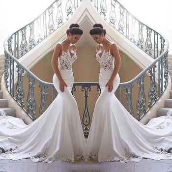 2020 Spaghetti Straps Mermaid Beach Wedding Dresses Satin Lace Applique Sweep Train Boho Bridal Gowns Custom Made Bride Dress - discount item  38% OFF Wedding Dresses