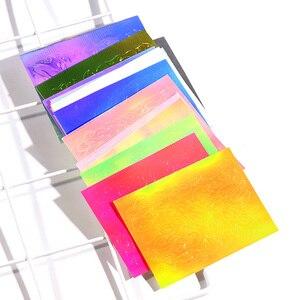 Image 5 - 16 шт. пламенная наклейка для ногтей Aurora Fire, полоса Голографическая лента, светоотражающая клейкая пленка, лазерная наклейка для дизайна ногтей