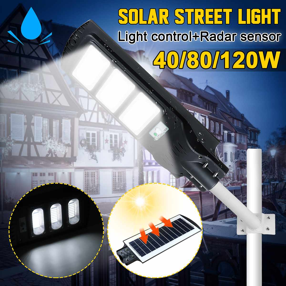40W 80W 120W LED Solar Street Lights Outdoor Dusk To Dawn Sensor Solar Powered Wall Lamp Commercial Super Bright Waterproof IP65
