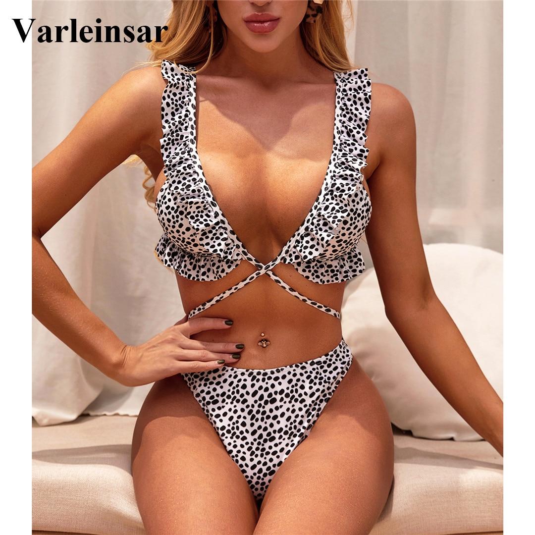 2020 Ruffled Mid Waist Bikini Female Swimsuit Women Swimwear Two pieces Bikini set Black Dot Bather Bathing Suit Swim Lady V2182|Bikini Set|   - AliExpress