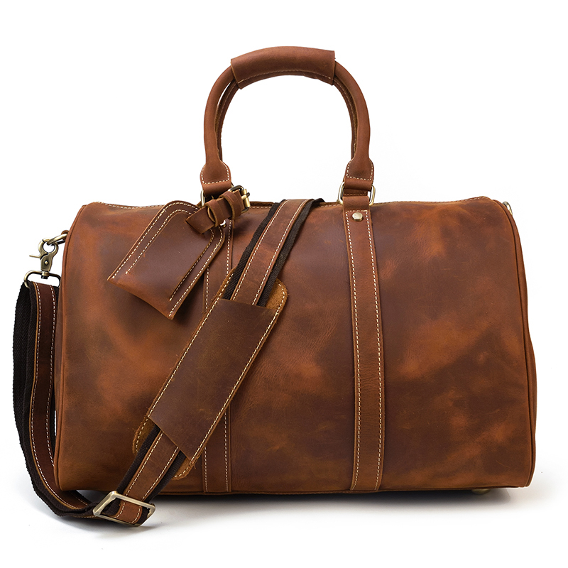 Luufan Casual Vintage Man Travel Bag Crazy Horse Cow Leather Travel Duffel Carry On Hand Tote Luggage Tote Bag Male 45cm