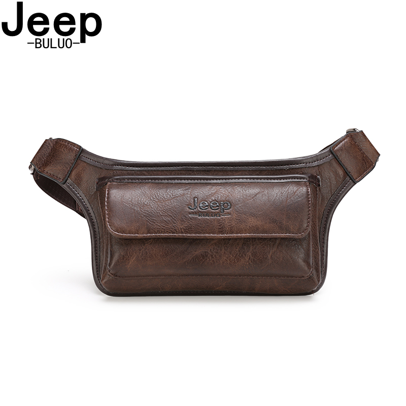 JEEP BULUO Brand Casual Functional Money Phone Belt Bag Chest Pouch Waist Bag Pack Male Women Sling Bag For Belt Leather Hip Bag