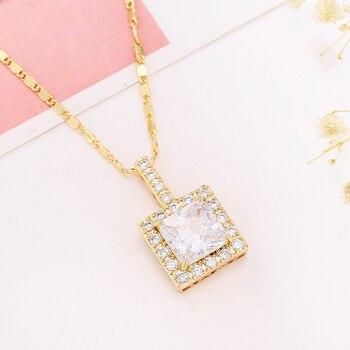 Collar con colgante de oro rosa joyería de fiesta de boda para...