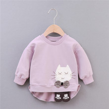 цена на Baby Girls T-Shirt Girl Cotton Autumn Spring Long-sleeved T-shirt Cartoon Cat Tee Girl Tops Baby Clothes