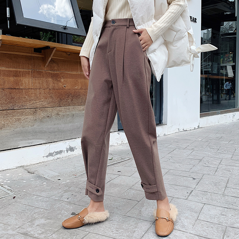 2019 Autumn Winter Women Ankle-Length Harem Pants New Warm Elastic Waist Woolen Pants Female Pencil Pants Casual Trousers