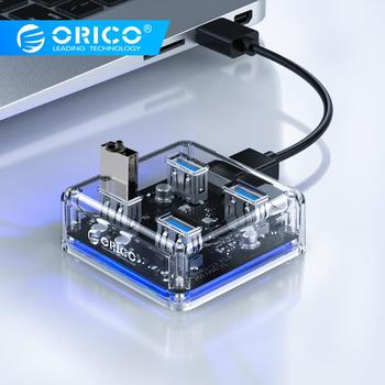 ORICO Transparent USB HUB 4 Ports USB3.0 Adapter Splitter Support External Micro USB Power Supply for Desktop Laptop Accessories