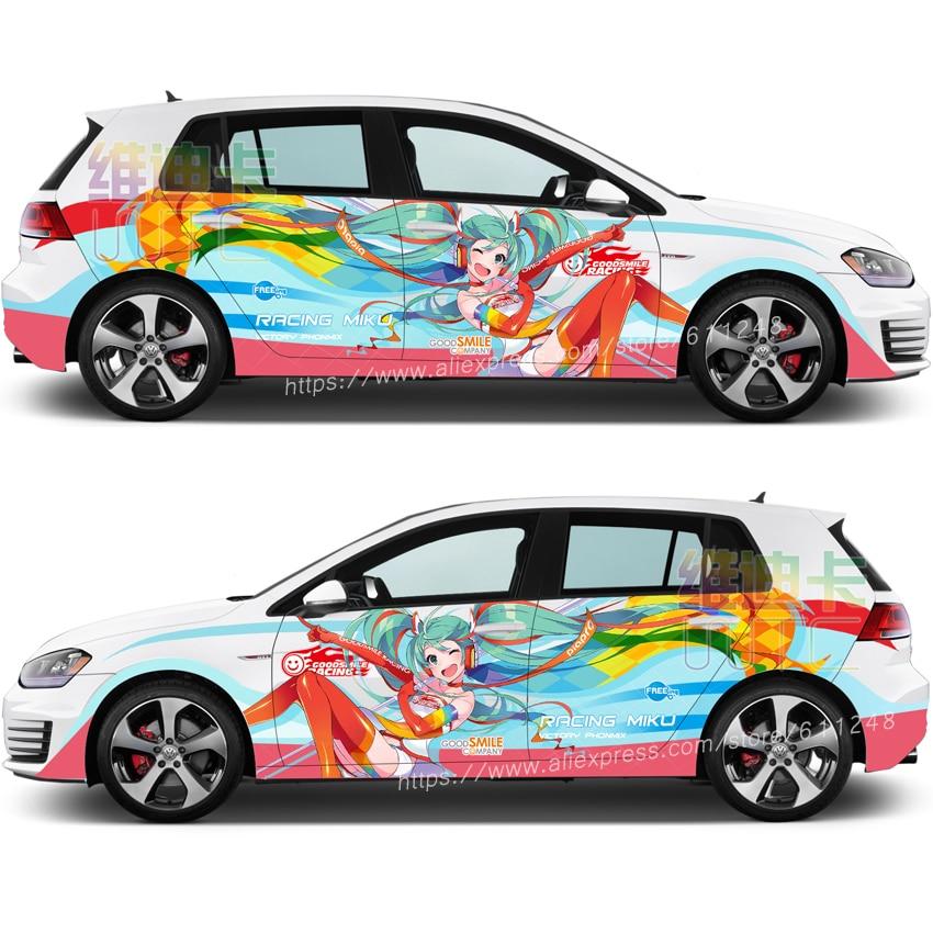 Japanese Anime Itasha GOODSMILE RACING MIKU Car Sticker Cartoon Auto Door Drift Racing Decal Ralliart Rally Stickers On Car