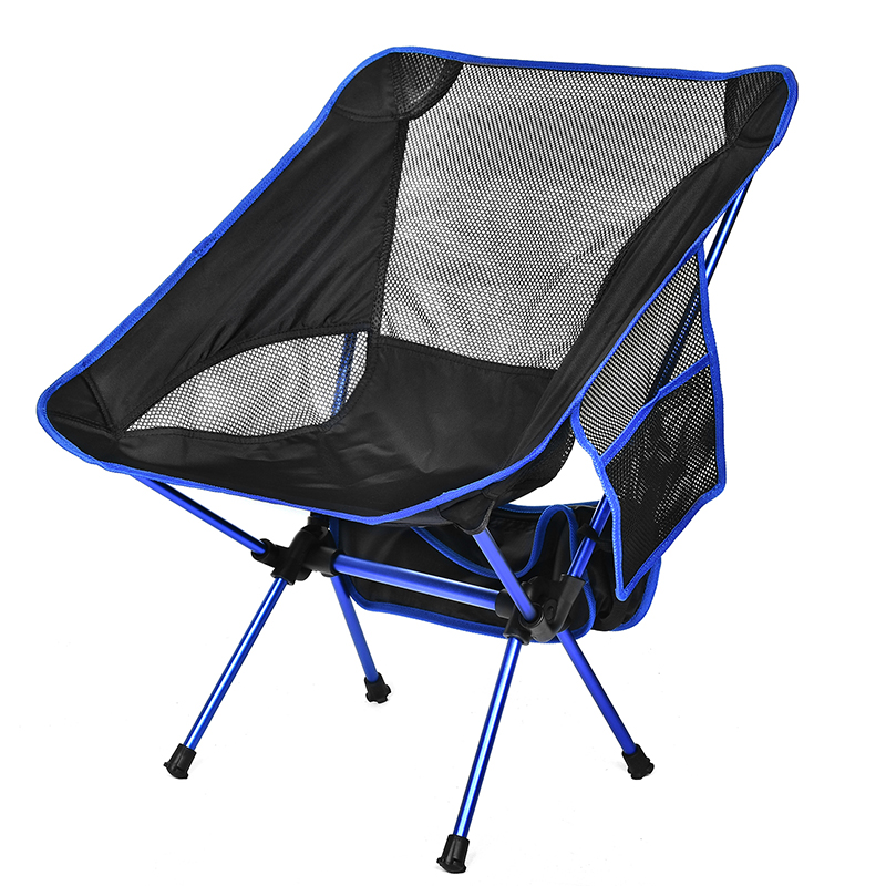 Moon Chair With Pocket Portable Collapsible Fishing Camping Folding Extended Hiking Seat Garden Ultralight Office Home Furniture