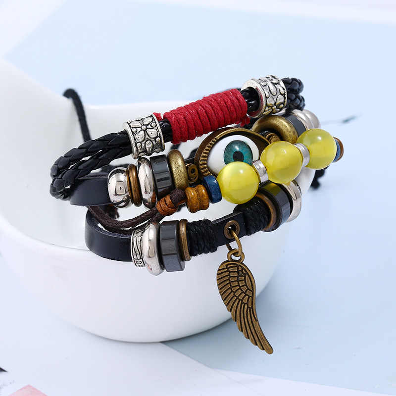 Bracelets en cuir véritable hommes turc mauvais oeil ailes breloques Punk Bracelets Vintage mode perles cire ligne multicouches Bracelets