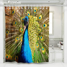 Watercolor Peacock Waterproof Shower Curtain 3D Mildewproof Bathroom Curtains With Hooks Boho Decor Bath Curtain Large douche цена в Москве и Питере