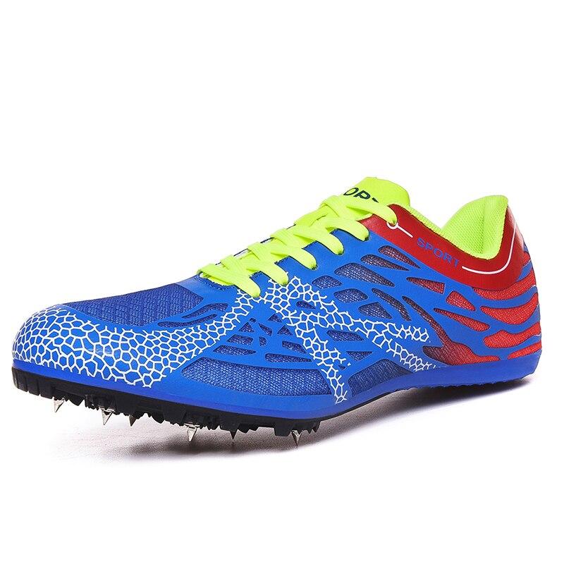 Мужские и женские кроссовки с шипами, дышащие кроссовки для бега, спортивная обувь для занятий спортом на открытом воздухе, обувь для прыжков, обувь для подростков - Цвет: Blue