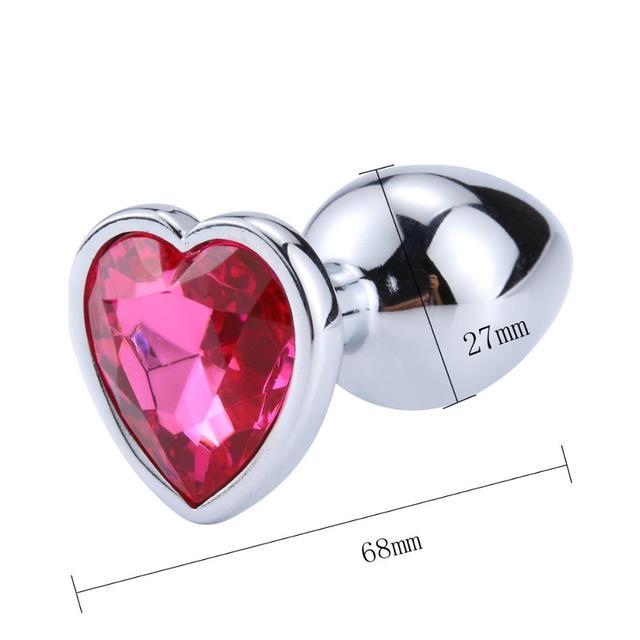Size Pink heart metal diamond anal plug