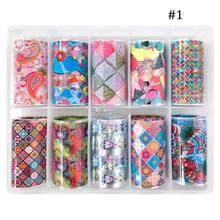 10 рулонов/caja de laminas голографические/прозрачные наклейки