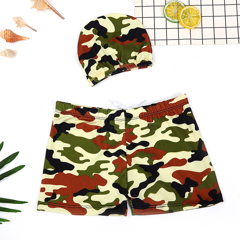 Children Camouflage Swimming Trunks BOY'S Sun-resistant Swimsuit Big Boy Baby Boy Split Type Boxer Swimming Suit With Cap
