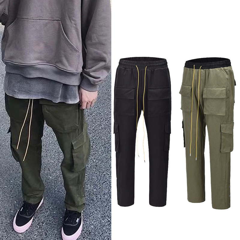 QoolXCWear Streetwear Cargo Pants Mens Military Multi-pockets Men's Trousers Double Side Buttons Design  Loose Casual  Pants