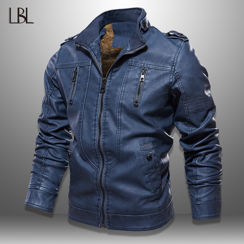 Winter Biker Jackets Men Slim Fit Leather PU Coat Stand Collar New Fashion Mens Zipper Jacket Outwear Jaquetas De Motocicleta