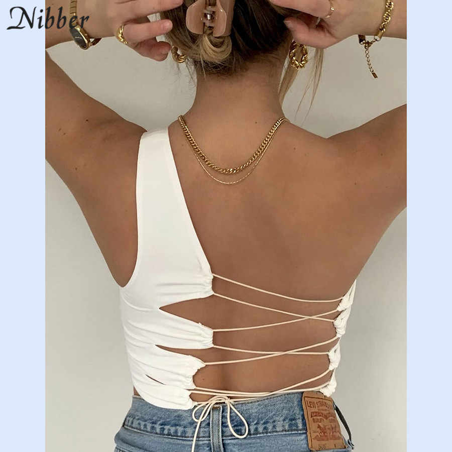 Nibber Sexy Hollow Backless Wit Zwart Tank Top Vrouwen Zomer Koreaanse Club Party Wear Hemdje Femme Crop Tops Slim Soft vest Tee