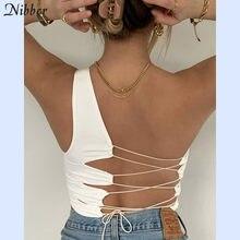 Nibber-Camiseta sin mangas sexy con huecos sin espalda para mujer, top blanco y negro, ropa de fiesta coreana para discoteca, crop tops para mujer, camiseta suave ajustada