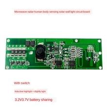 3.2v3.7v radar induced solar wall lamp circuit board solar lamp control panel circuit board with switch Kit