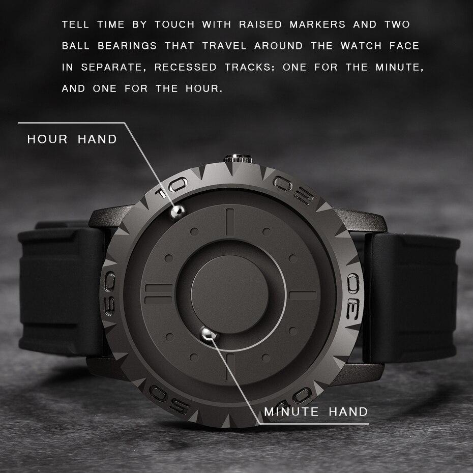 Eutour, original, a estrenar, puntero magnético, concepto libre, reloj de cuarzo, tacto ciego, reloj de hombre, correa de goma de moda